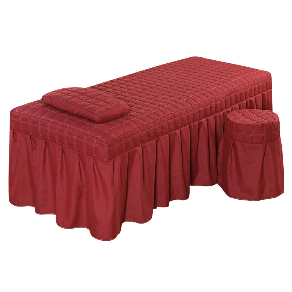 joyMerit Professional Massage Bed Bedding Linen Table Skirt With Face Breath Hole - Wine Red-L