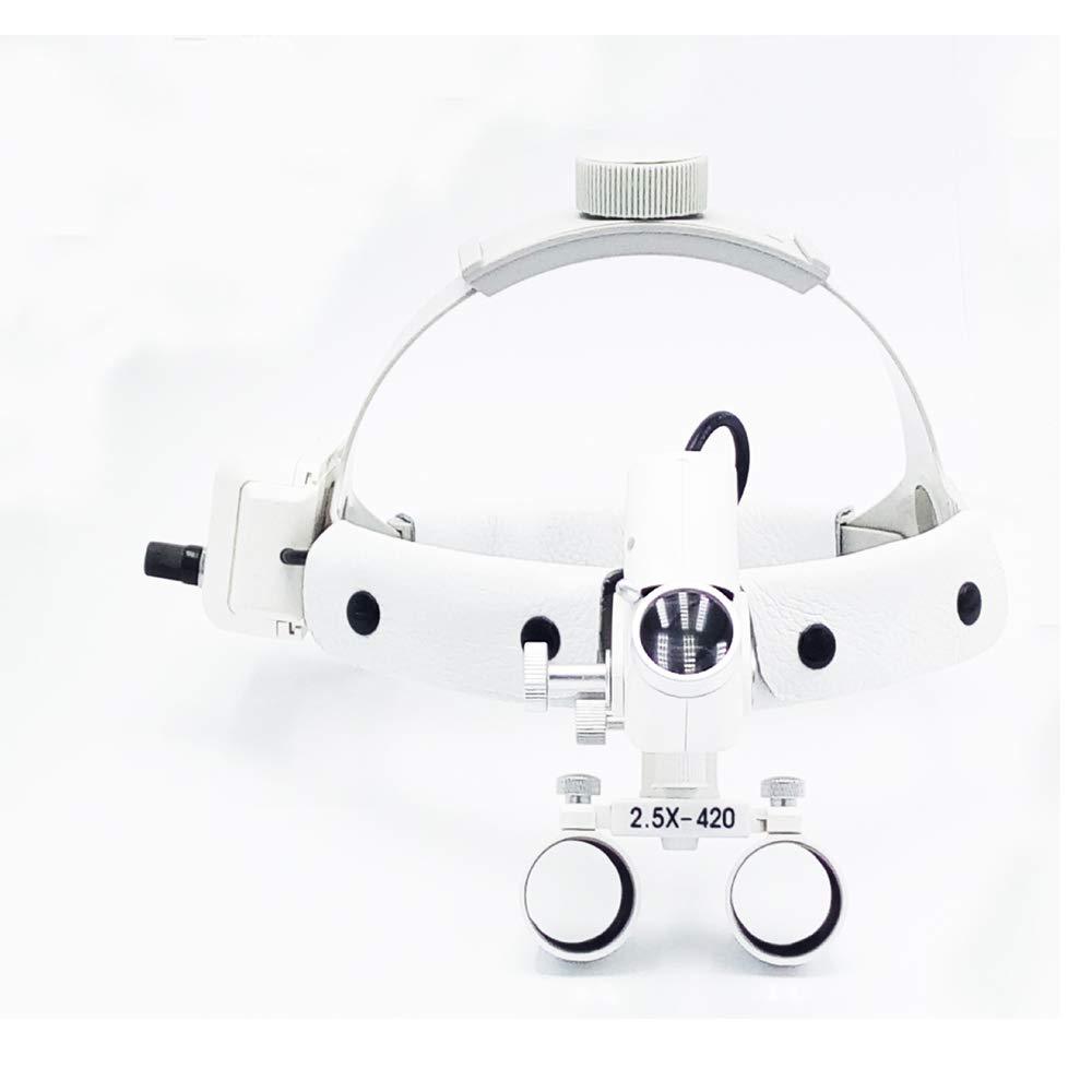 TDOU-DY-105 Medical Magnifier 2.5X LED Dental Loupes 2200mA Battery 90V-240V - 5W Head Light + Dental Surgical Glasses Binocular Loupes White Leather Headband