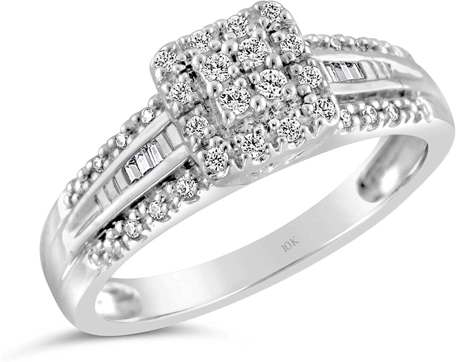 Brilliant Expressions 10K White Gold 1/5 Cttw Conflict Free Diamond Square Halo and Baguette Channel Band Engagement Ring (I-J Color, I2-I3 Clarity)