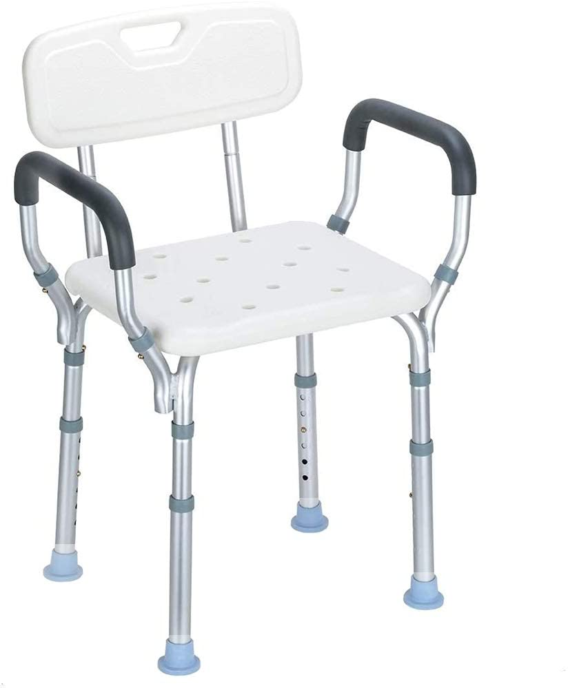 MSQL Shower Chair Bath Bench Stool with Removable Back and Arms, 16