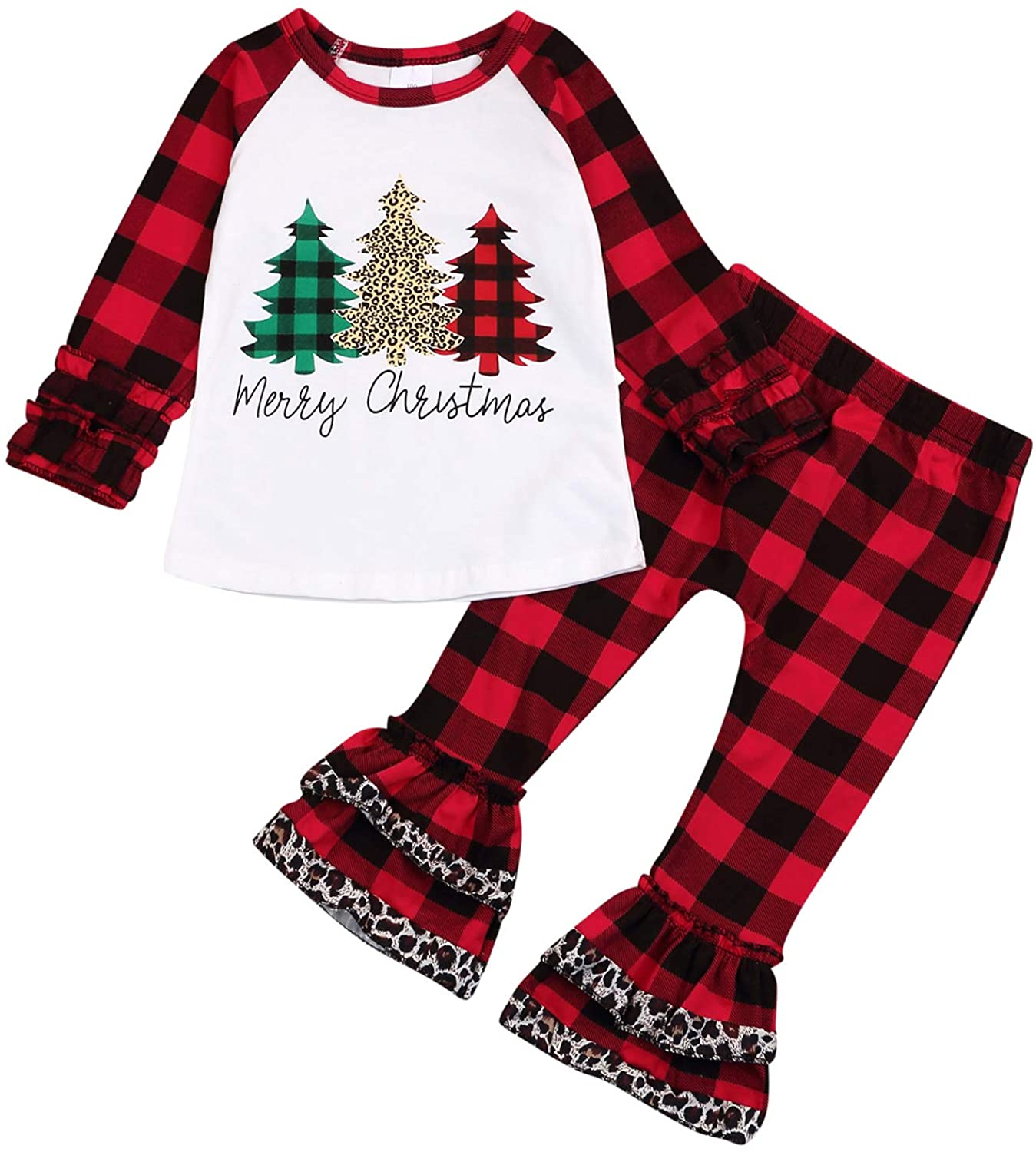Christmas Outfits Infant Toddler Baby Girls Merry Christmas Ruffle T-Shirt Plaid Leopard Bell Bottom Pants Fall Clothes Sets