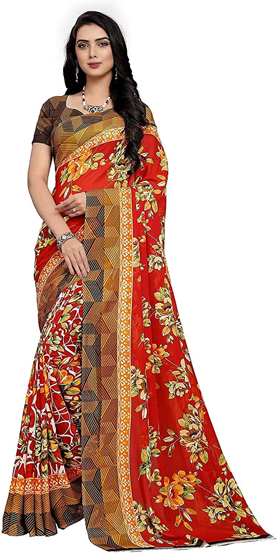 Indian Decor & Attire Georgette with Blouse Piece Saree (PC1062_Multicoloured_One Size)