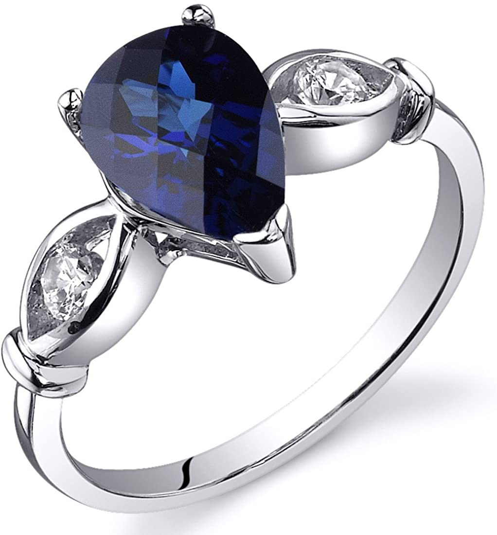 3 Stone 1.75 carats Created Blue Sapphire Ring in Sterling Silver Rhodium Nickel Finish Sizes 5 to 9