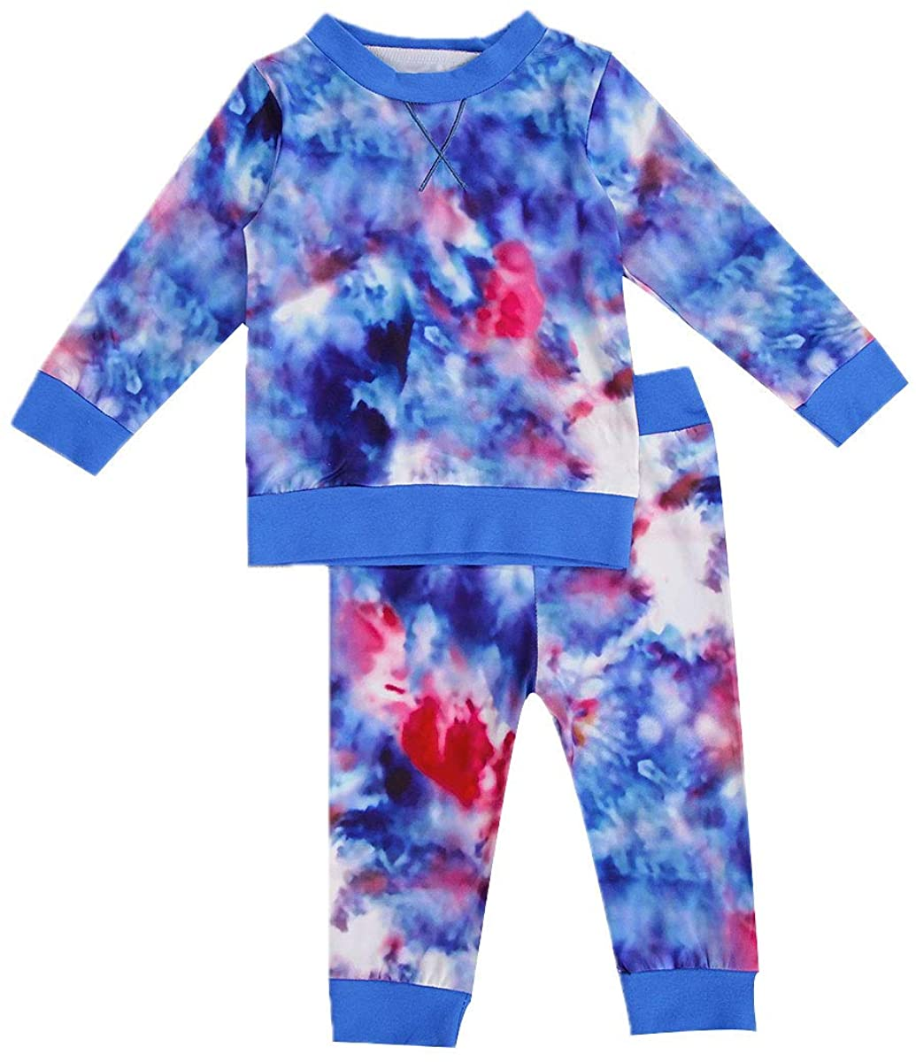 Unisex Baby Boy Girl Clothes Tie Dye Long Sleeve Sweatshirt Top Pants Set Spring Fall Winter Outfit Clothing