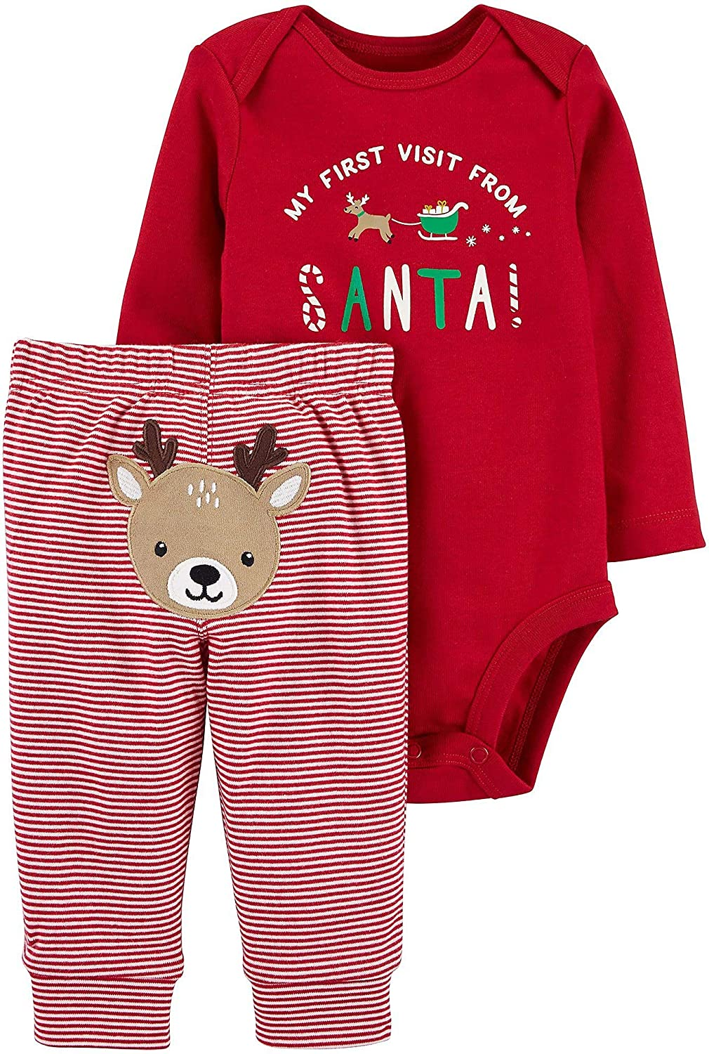 Carters Winter Holiday 2-Piece Christmas My First Visit from Santa Bodysuit and Striped Pants with Embroidered Reindeer Set (Red, 9 Months)