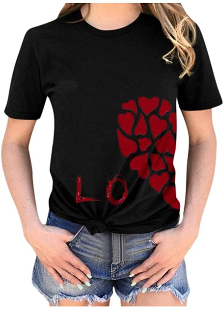 Kansopa Men Couples Lover Valentine's Day Short Sleeve Love Letter Print Tops Basic Spring T-Shirt