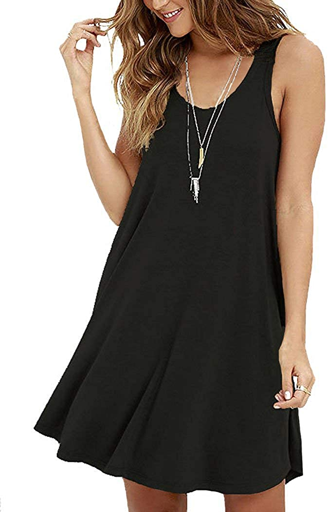 VIISHOW Womens Summer Sleeveless Casual Swing Simple T-Shirt Loose Dresses