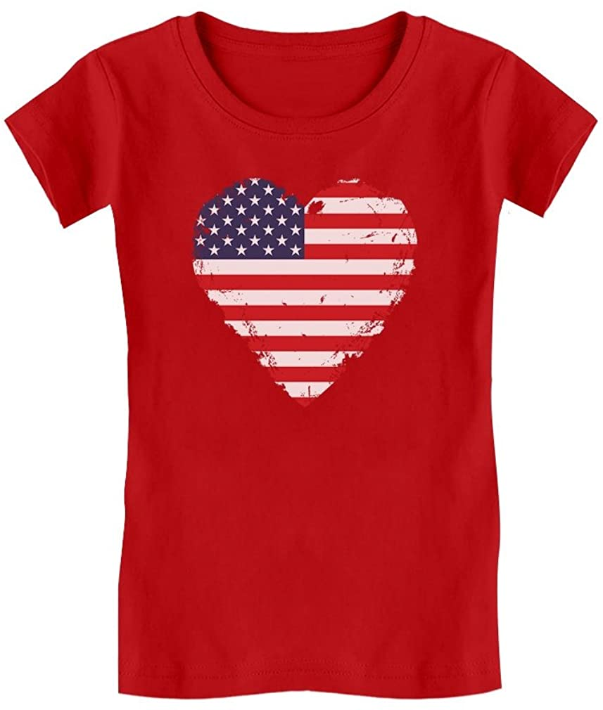 Love USA 4th of July American Heart Flag Toddler Kids Girls' Fitted T-Shirt