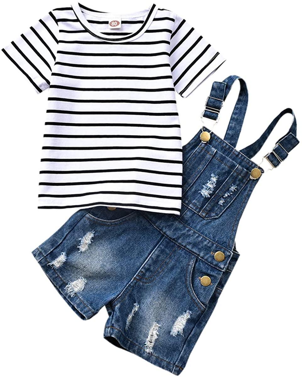 WISWELL Toddler Baby Girl Denim Shorts Set Striped Short Sleeve Shirt + Suspender Denim Overalls Outfits