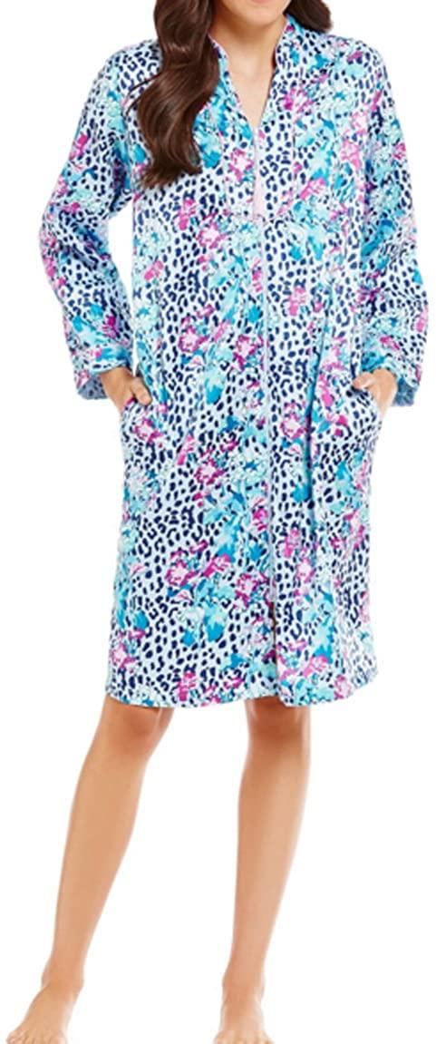 Miss Elain Womens Blue Floral Animal-Print Zip Robe, Large