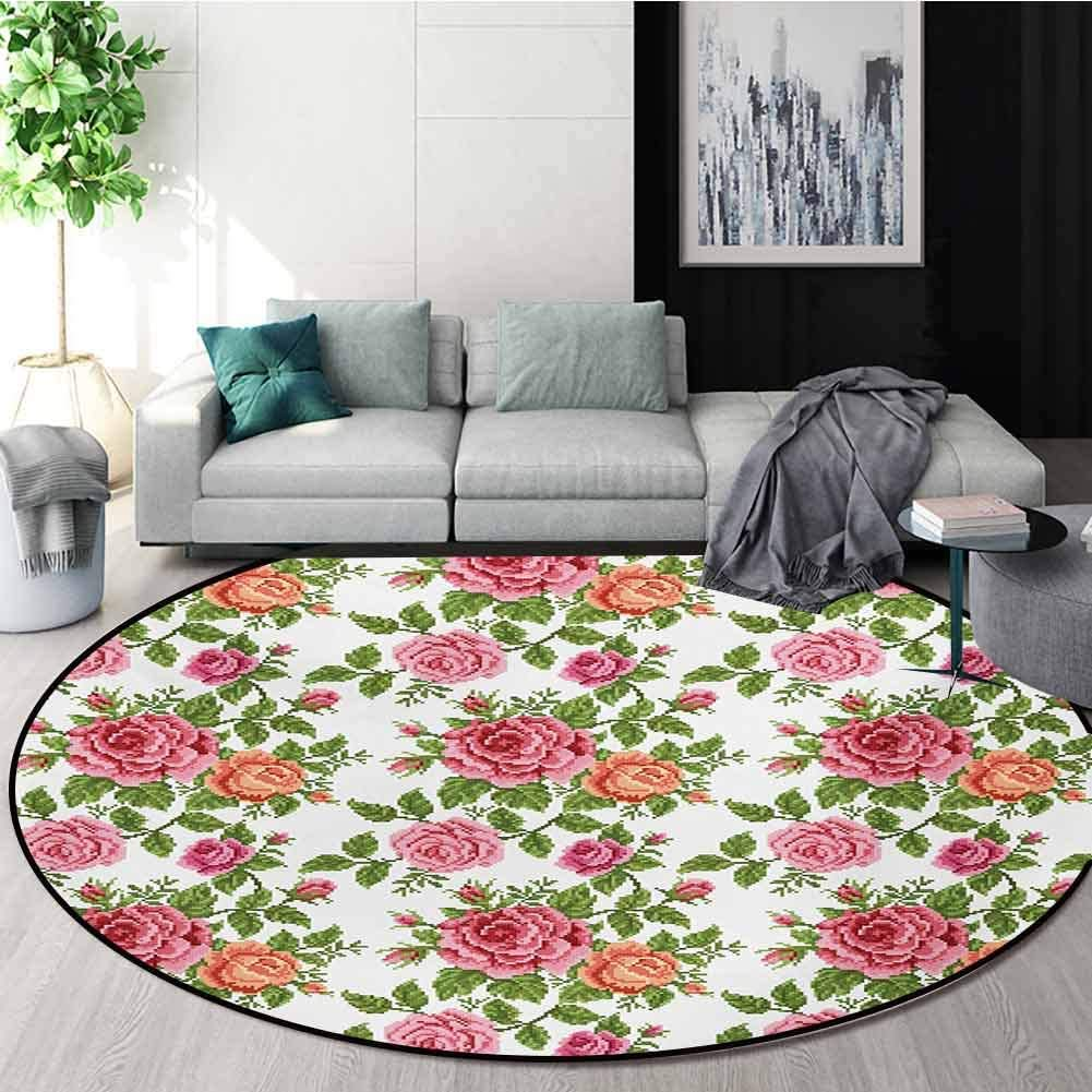 RUGSMAT Roses Round Rug,Embroidery Style Graphic Flowers with Green Leaves Old Fashioned Romantic Carpet Door Pad for Bedroom/Living Room/Balcony/Kitchen Mat,Diameter-51 Inch Pink Green Salmon