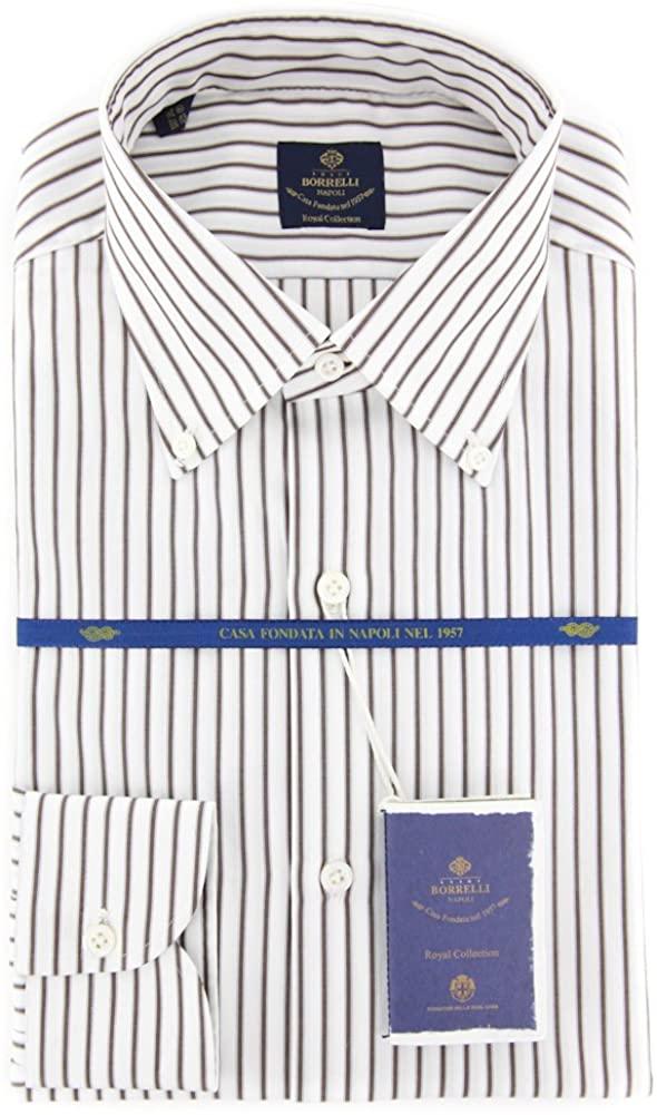 New Luigi Borrelli Brown Striped Extra Slim Shirt