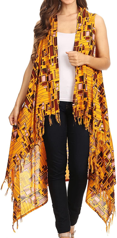 Sakkas Hatice Light Colorful Poncho Wrap Cardigan Top with African Ankara Print