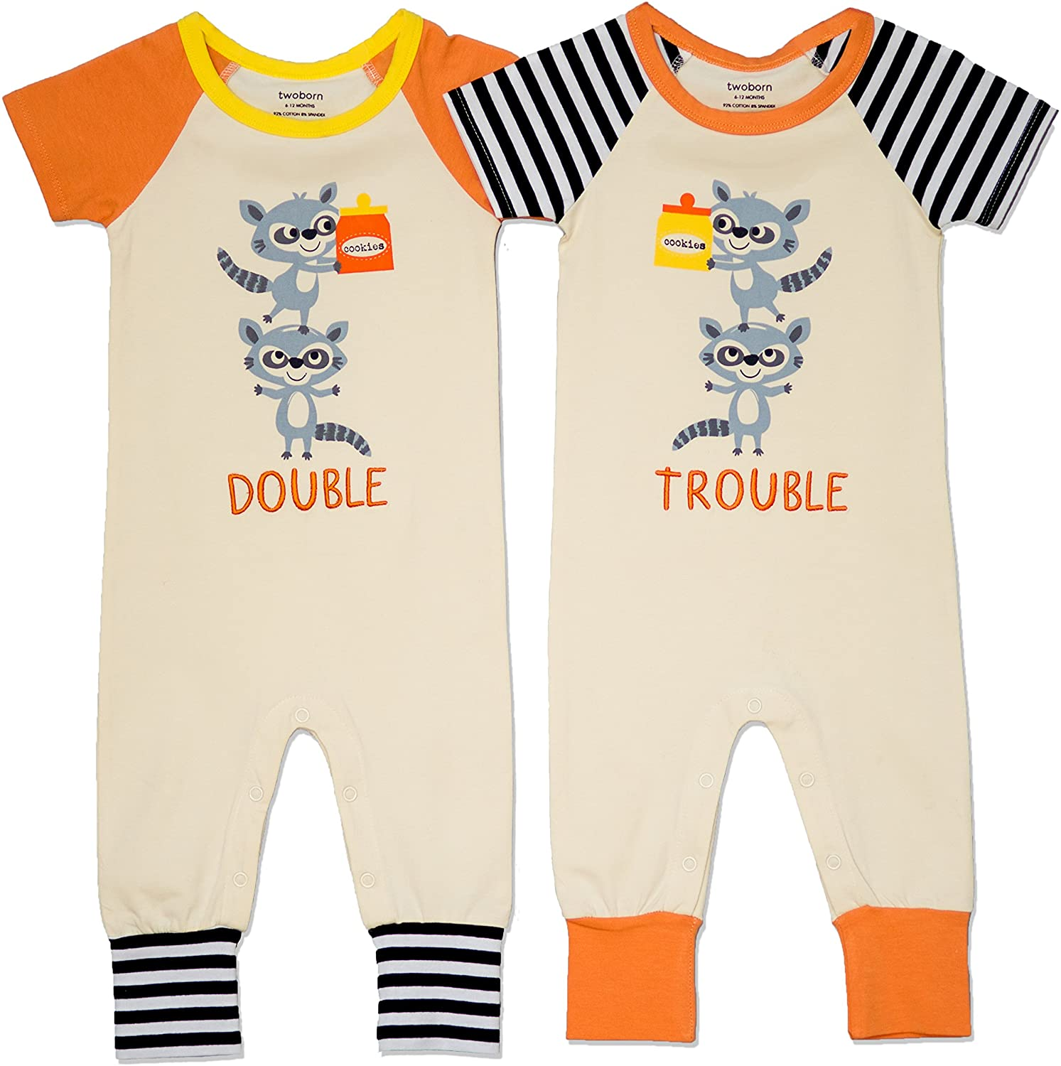 Twoborn Double Trouble Matching Twin Rompers, Unisex, 18-24 Months