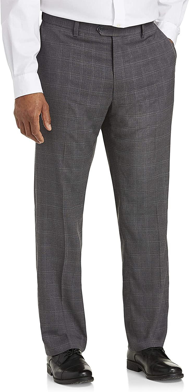 DXL Gold Series Big and Tall Windowpane Dress Pants, Grey, 42W X 32L