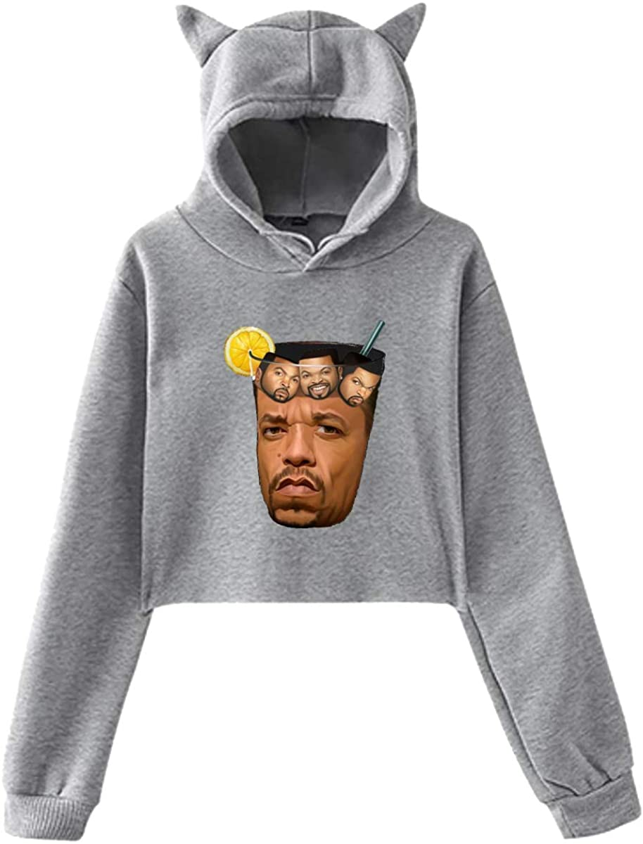 Women's Ice T & Ice Cube Logo Exposed Umbilical Dress, Round Neck New Cat Ear Hooded Gray