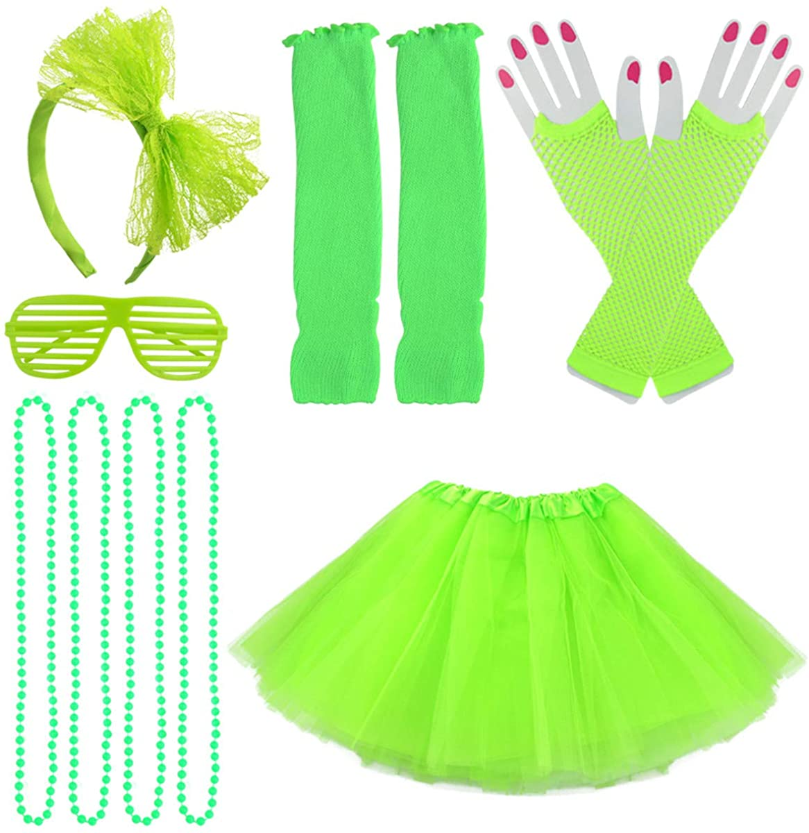 Jerbro 80s Costume Accessories for Girls, 6pcs Skirt Leg Warmers Fishnet Gloves Bracelet Necklace Shutter Glass Rainbow