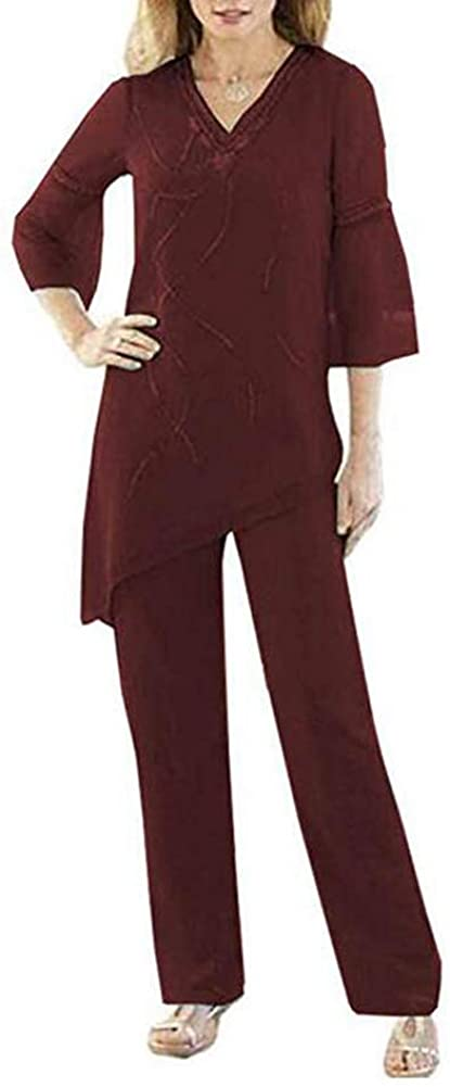 Women's Burgundy 2 Pieces Chiffon Mother of The Bride Pant Suits 2/3 Sleeves V-Neck Classy for Wedding Outfits US16W