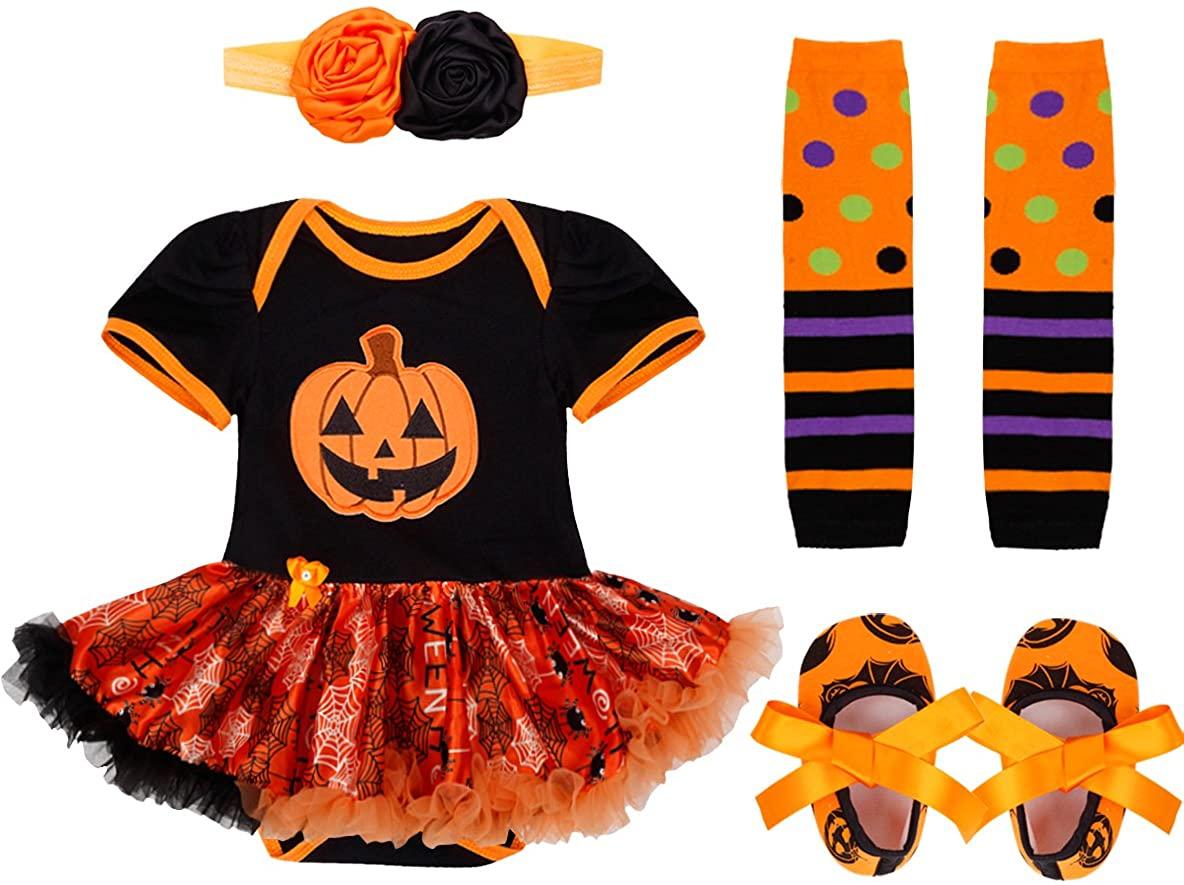 YiZYiF Baby Girl's Halloween Christmas Party Costume Romper with Headband Tutu Dress Up