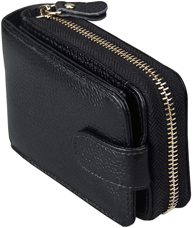 RFID Blocking Credit Card Holder-Welegant Mini Card Holder Organizer Case Genuine Leather Zip Compact Accordion Wallet with ID Window for Business Cards Credit Cards Driver License (Window, Black)