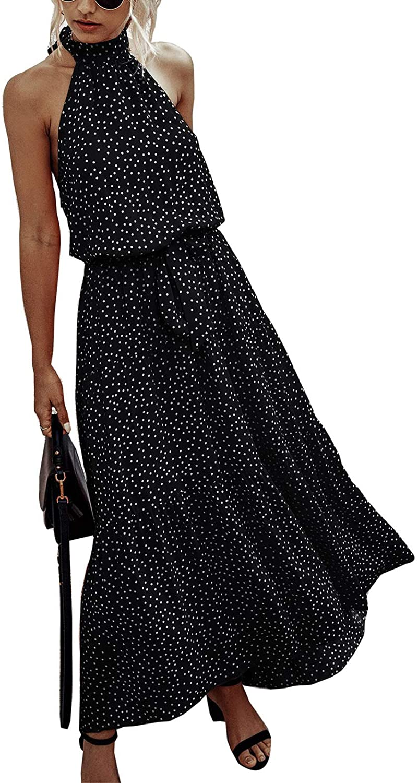 Temofon Womens Dresses Halter Neck Floral Maxi Polka Dot Sleeveless Backless Boho Beach Long Dress with Belt S-2XL