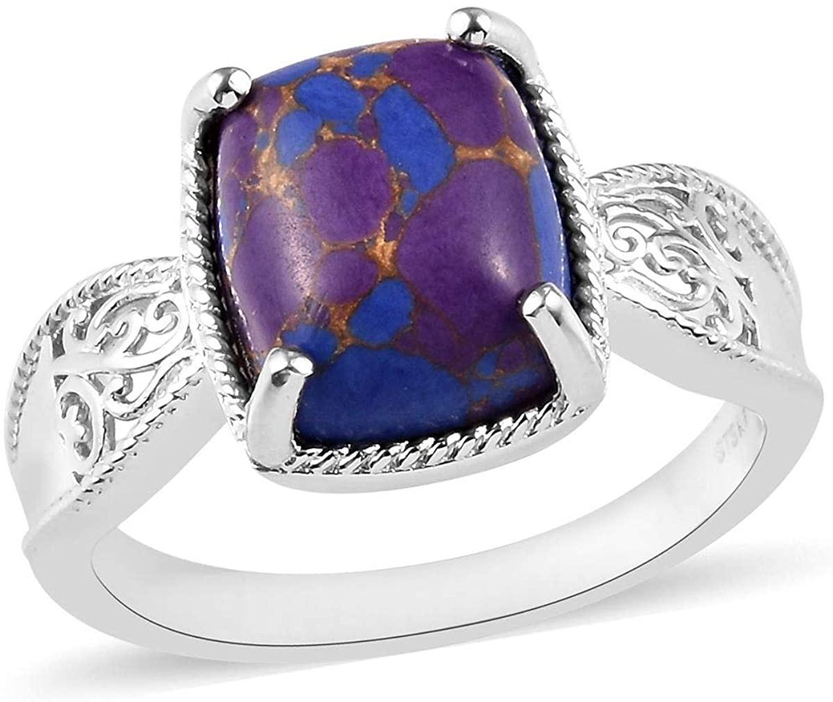 Shop LC Delivering Joy Karis Platinum Plated Cushion Purple Turquoise Solitaire Ring Costume Unique Fashion Jewelry for Women Size 8