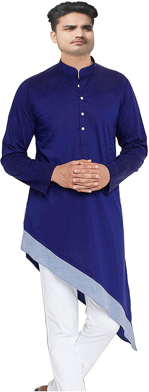 Lakkar Haveli Indian Pure Cotton Men's Shirt Kurta Blue Color Trail Cut Plus Size