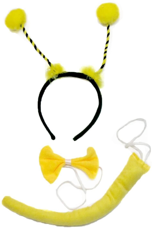 Petitebella Yellow Bee Headband Bowtie Tail 3pc Costume (Yellow)