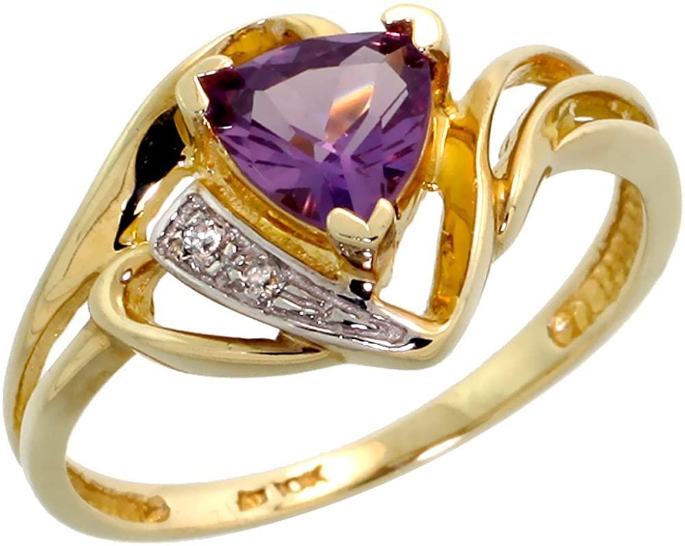 10k Gold Diamond Natural Amethyst Ring Trillium Cut 6mm February Birthstone 1/2 inch wide, sizes 4-9