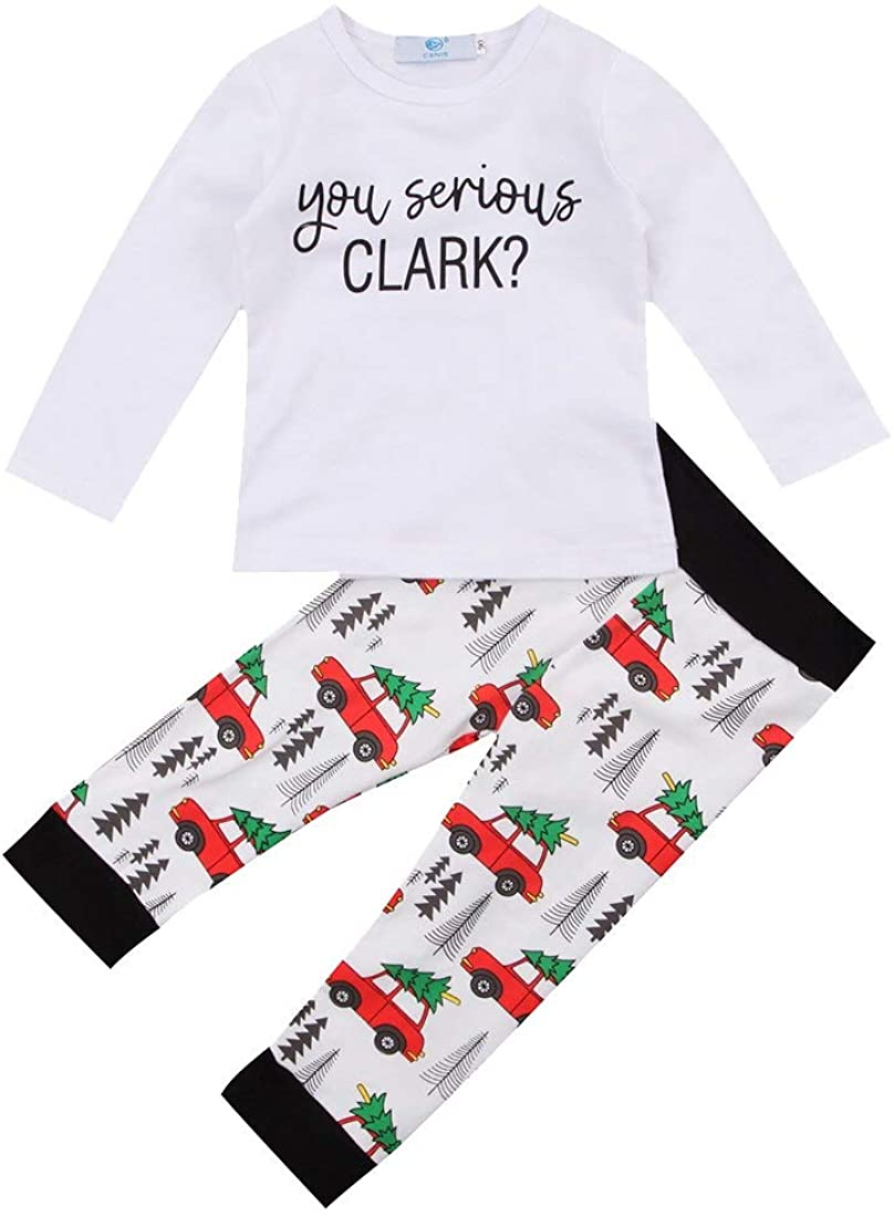 Lyilepu 2Pcs Infant Baby Boys Girls Christmas Outfits Long Sleeve T Shirt Tops and Car Pattern Pants Pajamas Sets