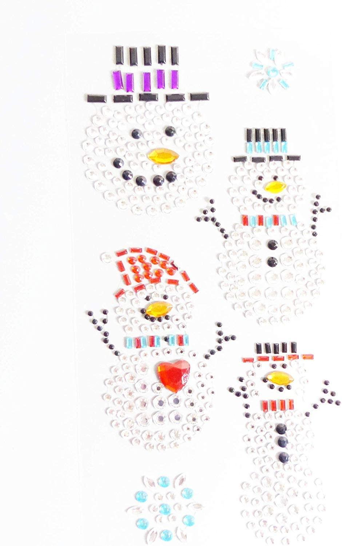 Snowman Stickers Sparkly Resin Rhinestone Self Adhesive Embellishments Crafts Christmas