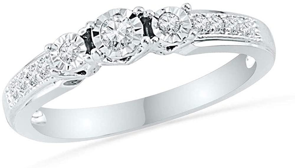 Dazzlingrock Collection 10kt White Gold Round Diamond 3-stone Bridal Wedding Engagement Ring 1/5 Cttw
