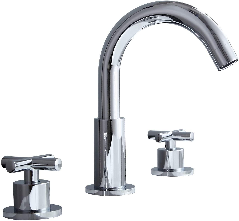JinYuZe Chrome Widespread Bathroom Sink Faucet with Double Cross Handles, Gooseneck Swivel Spout