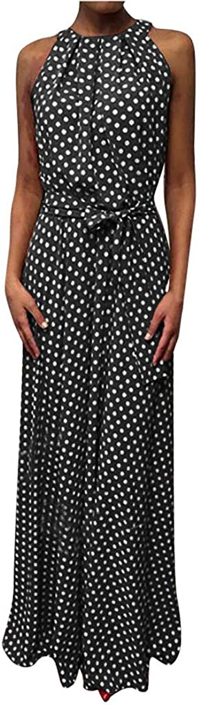 Polka Dot Halter Neck Maxi Dresses for Women Boho Print Elegant Casual Swing Long Dress with Belt