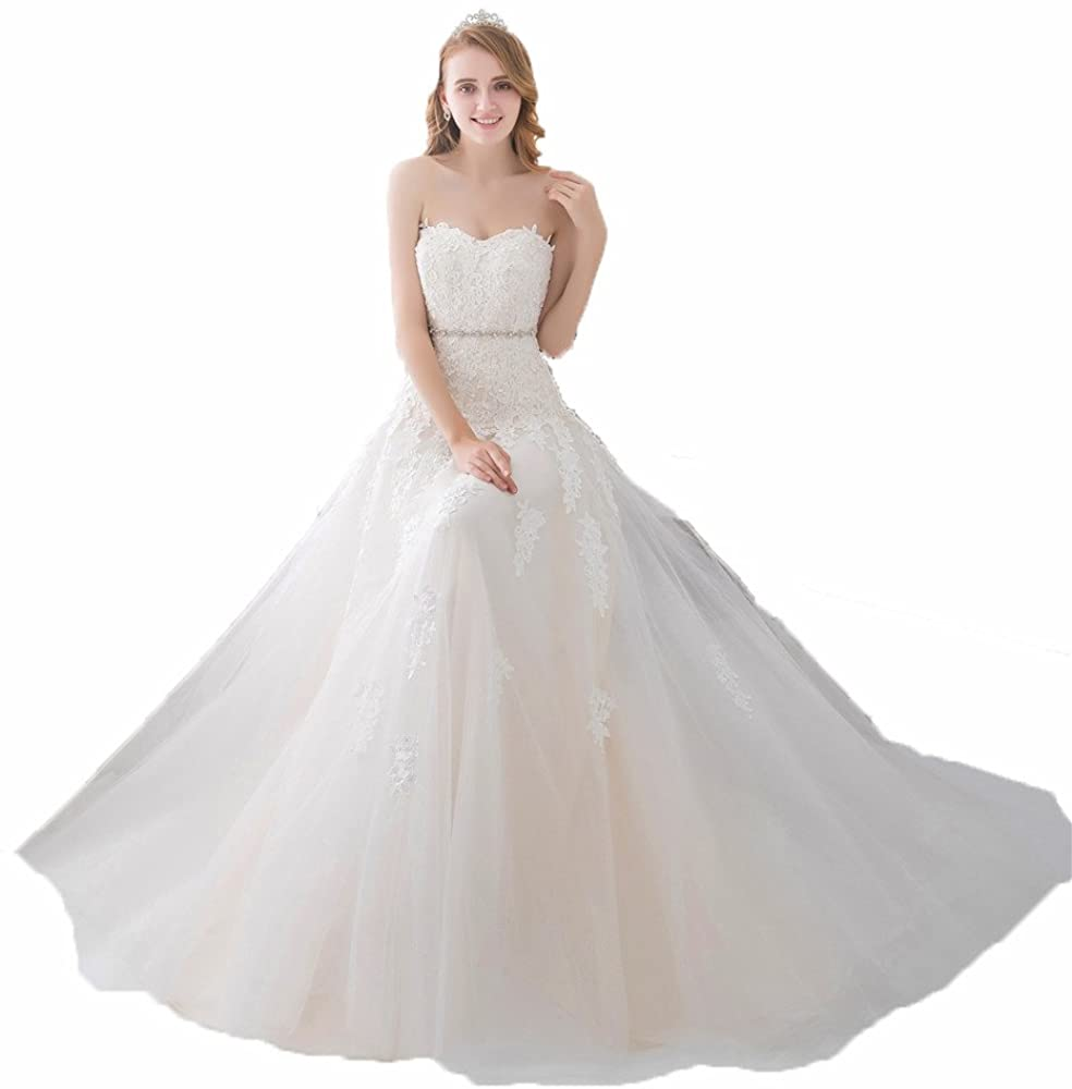 Little PrettyDress Sweetheart Lace Light Champagne Lace Applique Beading Sash Bridal Gowns Wedding Dress