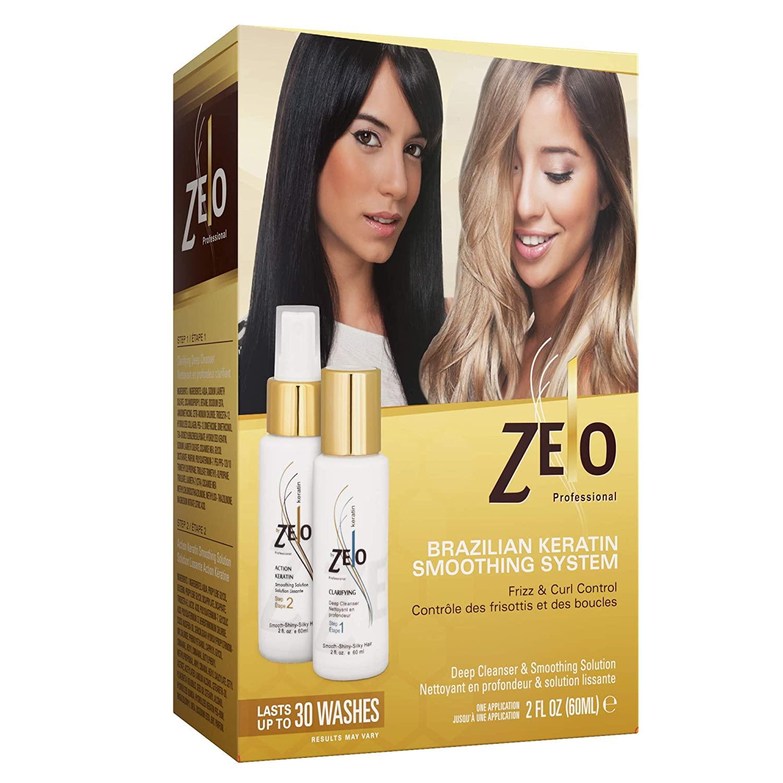 ZELO Smoothing Brazilian Keratin Hair Treatment Kit - Eliminates Frizz, Straightens Hair and Helps Keep Smooth, Shiny, Silky Hair For All Hair Types. Queratina Keratina Brasileira