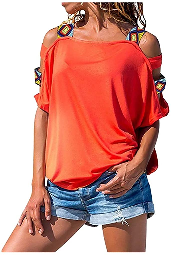 ZSBAYU Women Casual Off Shoulder Hollow Out Short Sleeve Tops Summer T-Shirts Loose Shirts Blouse