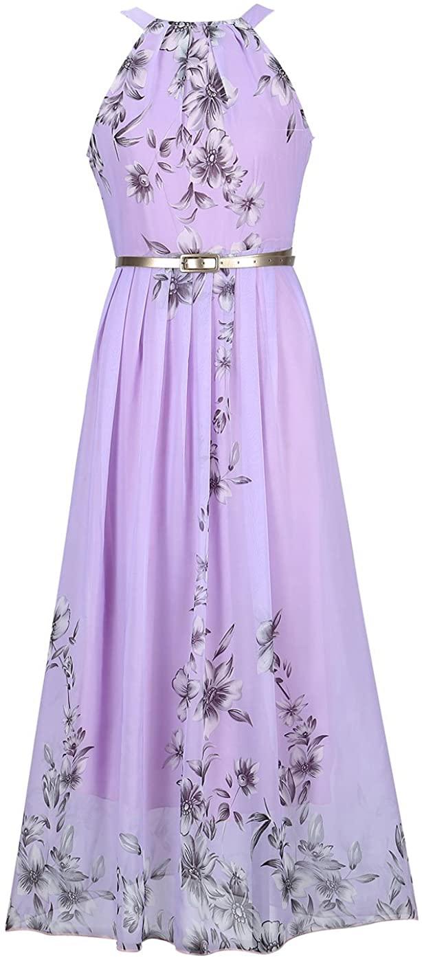 Ruiyige Womens Sleeveless Halter Neck Vintage Floral Print Maxi Dress