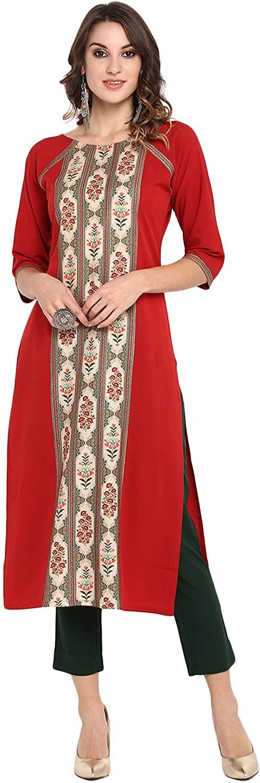 Janasya Women's Red Poly Crepe Kurta