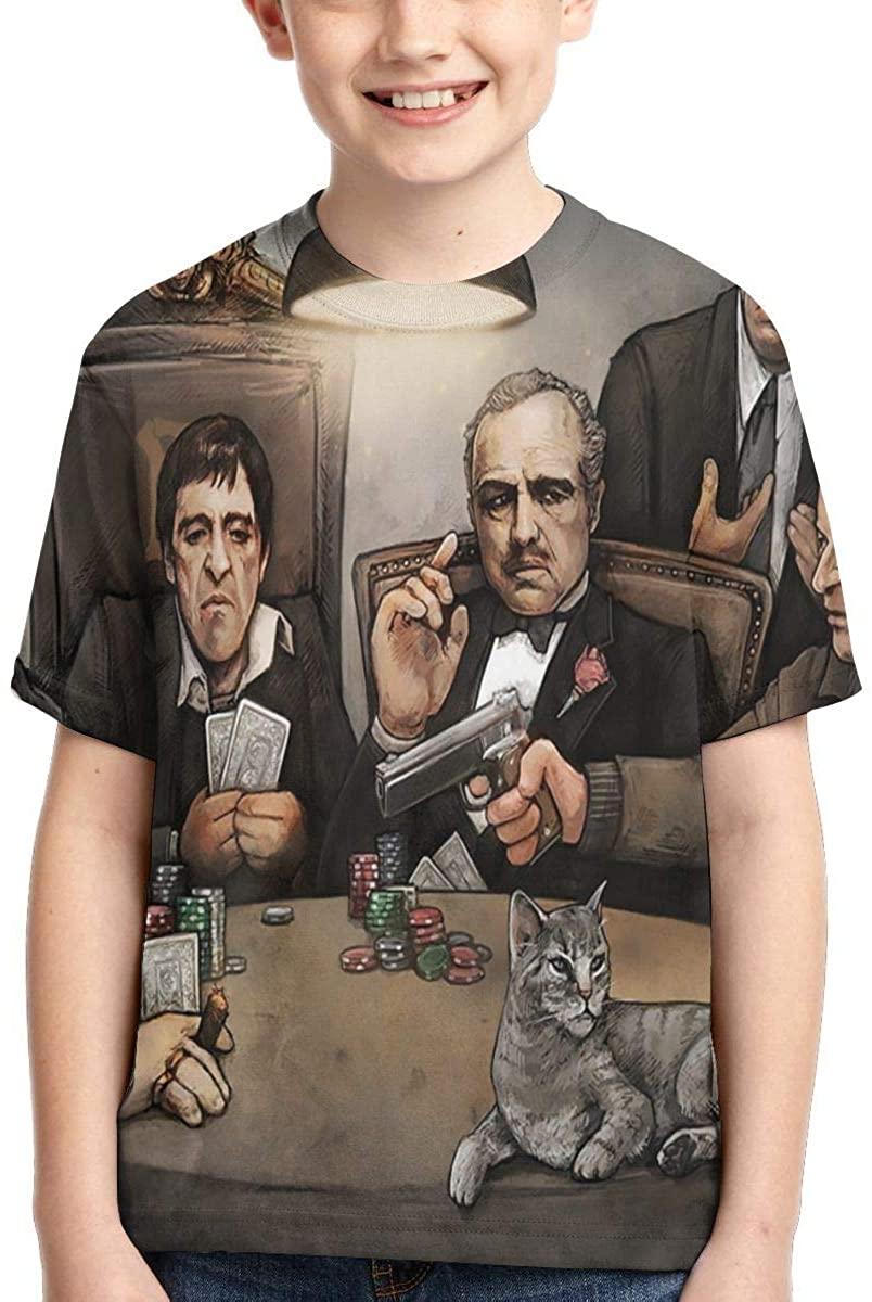 Suwei Boys,Girls,Youth Gangster'S Playing Poker T Shirts