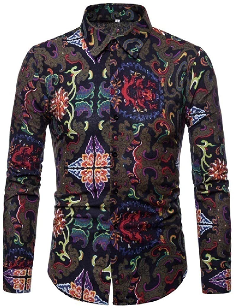 QUHS Men's Personalized Lapel Fitted Long Sleeve Print Colorful Dress Shirt