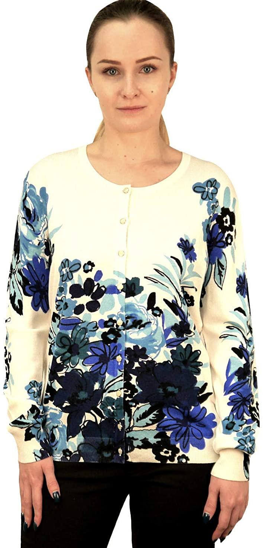 Women's Cardigan Sweater Button Front Floral Flower Print, S M L XL