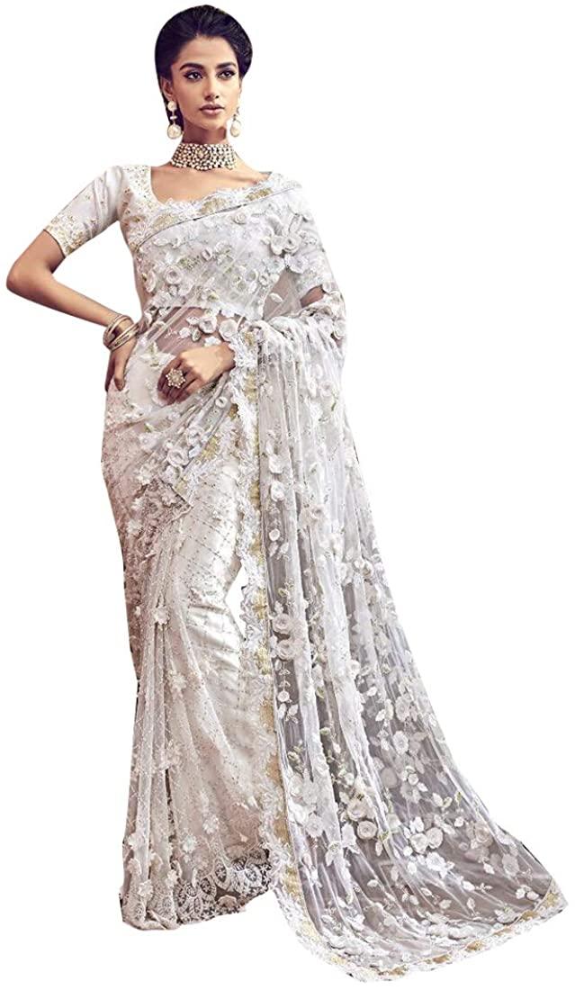 Pure White Original Cut Work Designer Christian Bridal Wedding Flower Saree Blouse Indian Sari Dress 7870