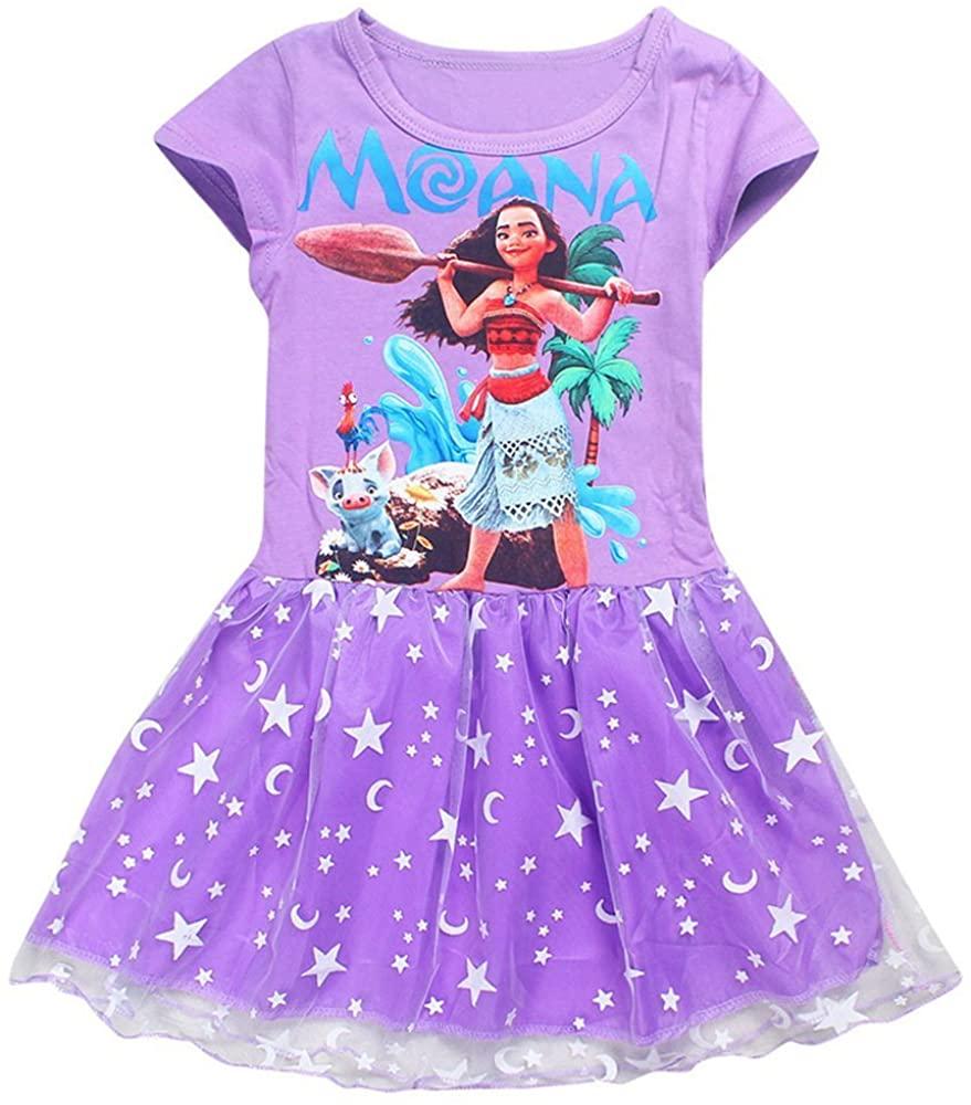 AOVCLKID Moana Little Girls' Dress Princess Cartoon Party Dress