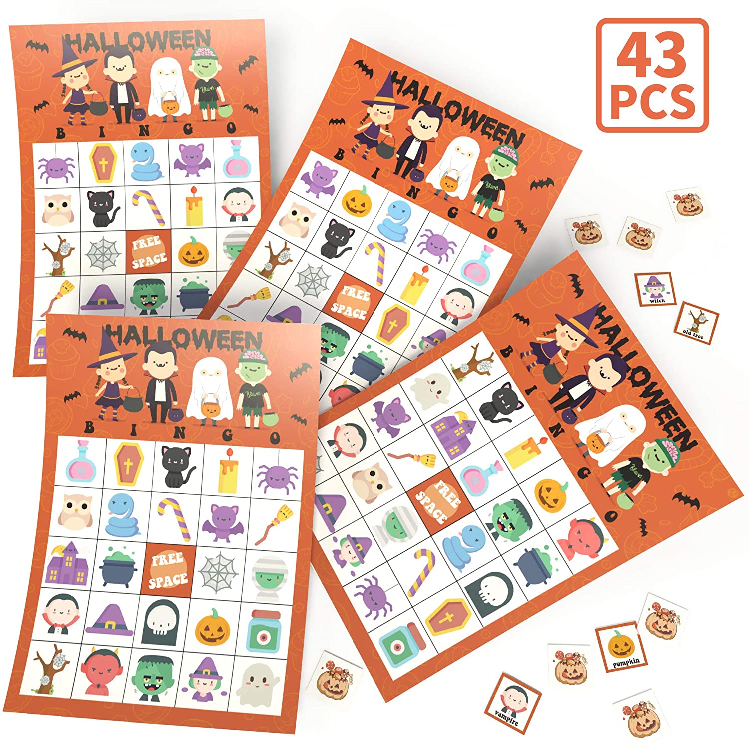 KD KIDPAR Halloween Bingo Cards Game Set for Kids and Whole Family - 32 Players, Reusable and Easy Read