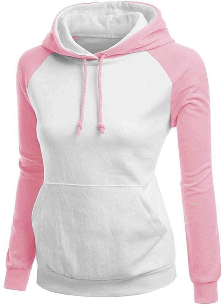 ZEFOTIM Women Sweatshirt, Fashion Autumn Women Casual Solid Full Sleeve Stand-Neck Colour Stitching Blouse