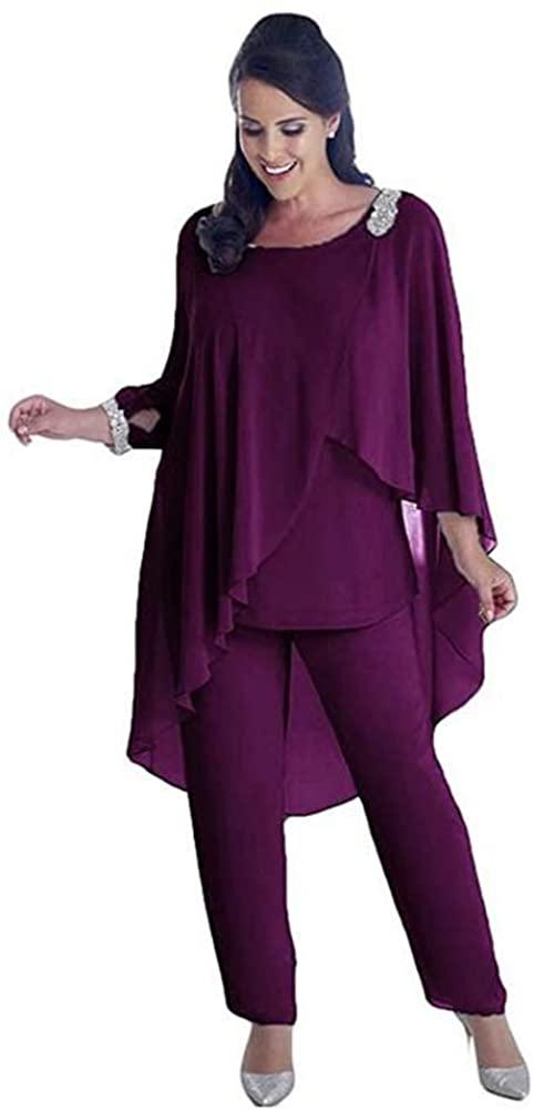 Women's Chiffon Mother of The Bride Dress 3 Pieces Pant Suits Plus Size