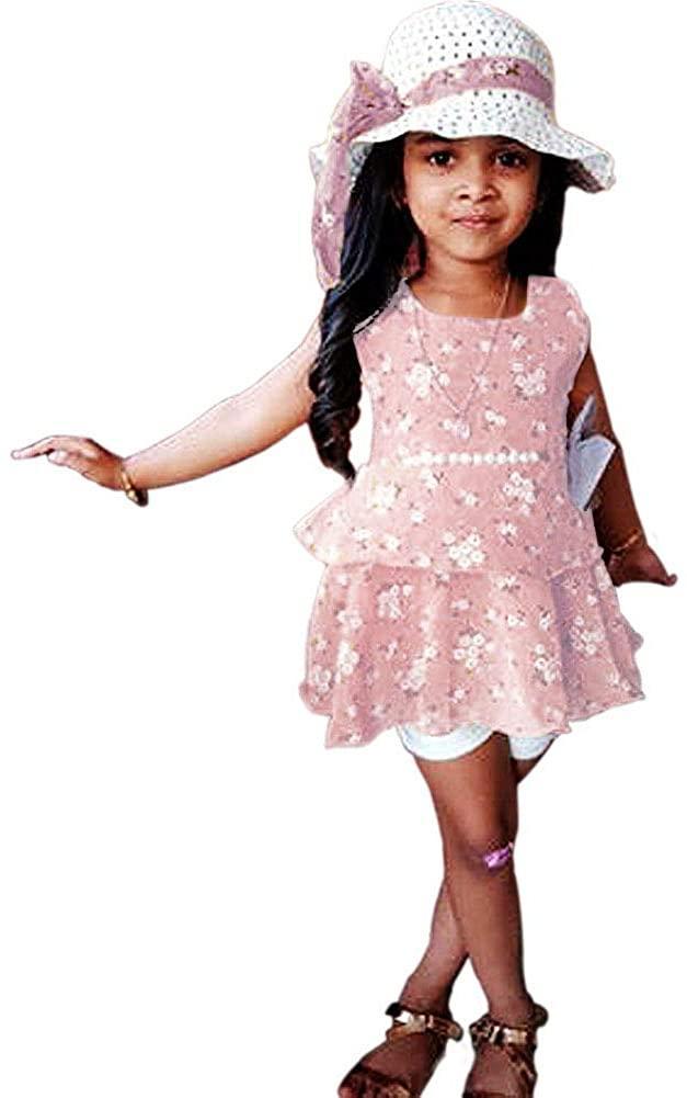 luethbiezx 3Pcs Kids Baby Girls Outfits Floral Sets Summer