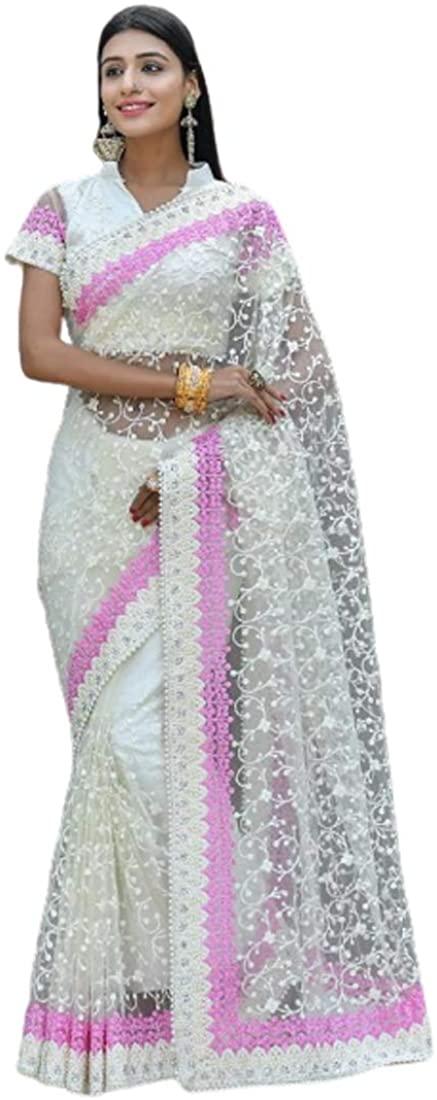 White Festival Eid Party Wear Heavy Embroidery Net Indian Saree Sari Blouse Muslim Dress 9858B