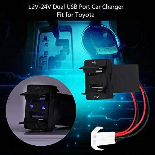 Aircus New 12V-24V 2.1A Dual USB Port Car Charger Power Adapter Socket for Toyota Cellphone
